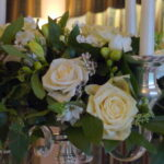 Candelabra Green and White Flowers
